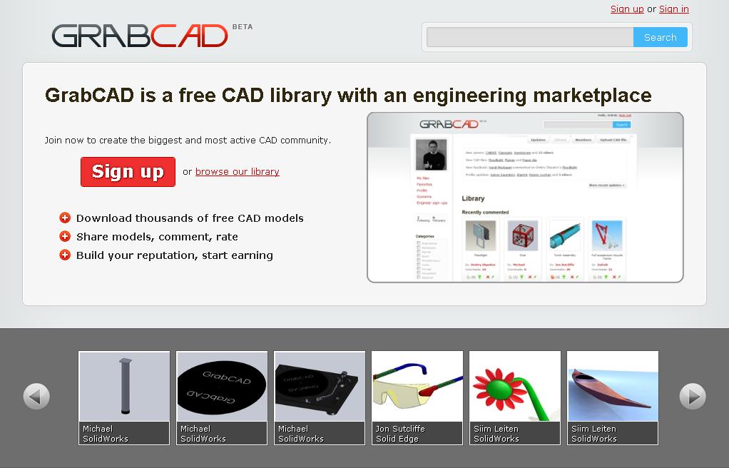 GrabCAD – Partilha Online e Gratuita de ficheiros CAD