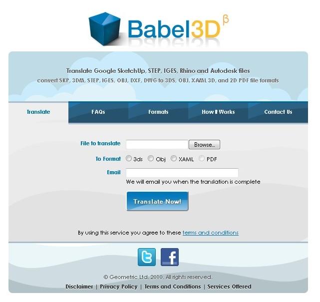 Babel3D –  Conversão Online de Ficheiros 3D